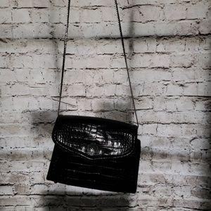 Brighton croc embossed black leather purse